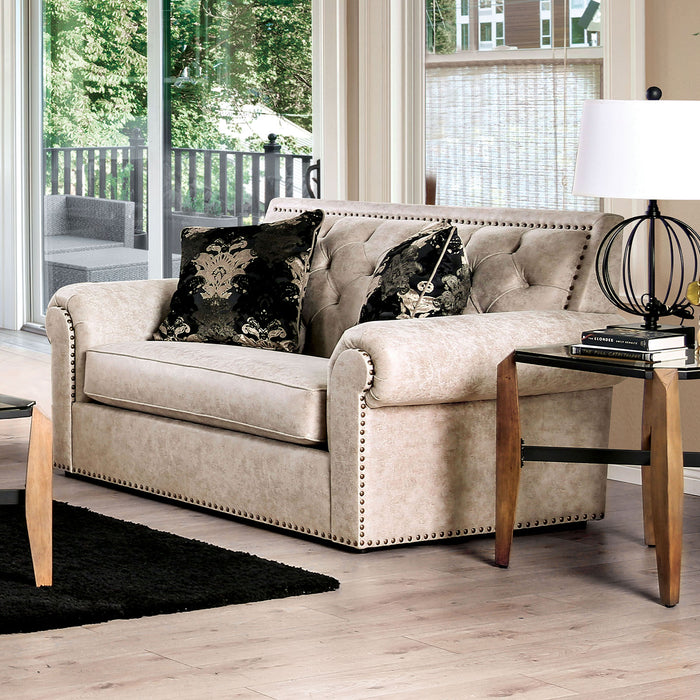 Parshall Beige W/ Gold Highlights Love Seat - Canales Furniture