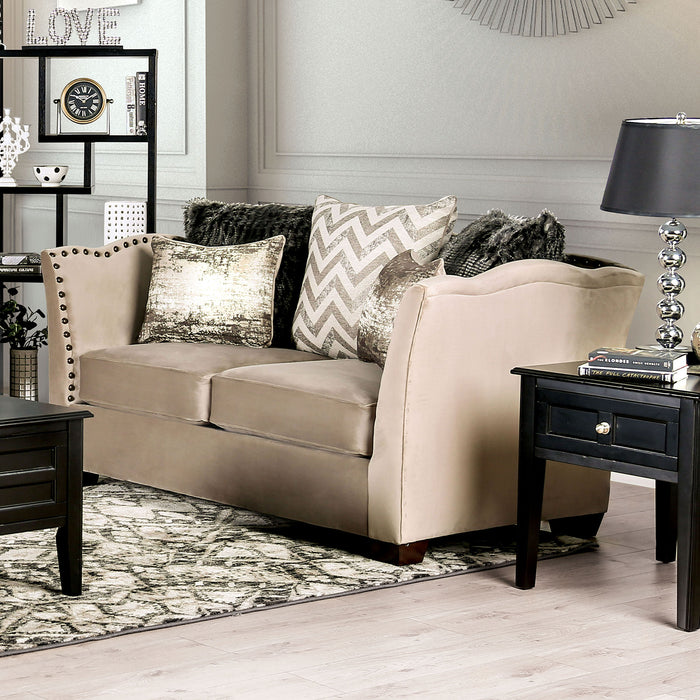 Hampden Beige Love Seat - Canales Furniture