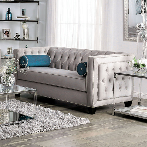 Silvan Gray Love Seat - Canales Furniture