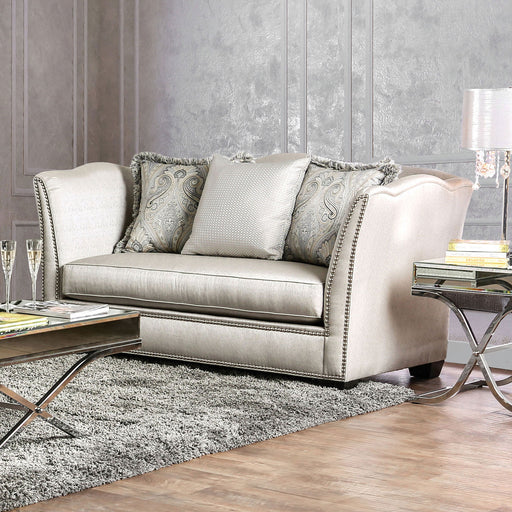 ALESSANDRA Silver/Gold Love Seat - Canales Furniture