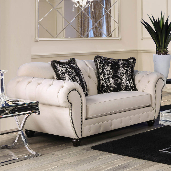 Gilda Beige/Black Love Seat - Canales Furniture