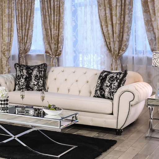 Gilda Beige/Black Sofa - Canales Furniture