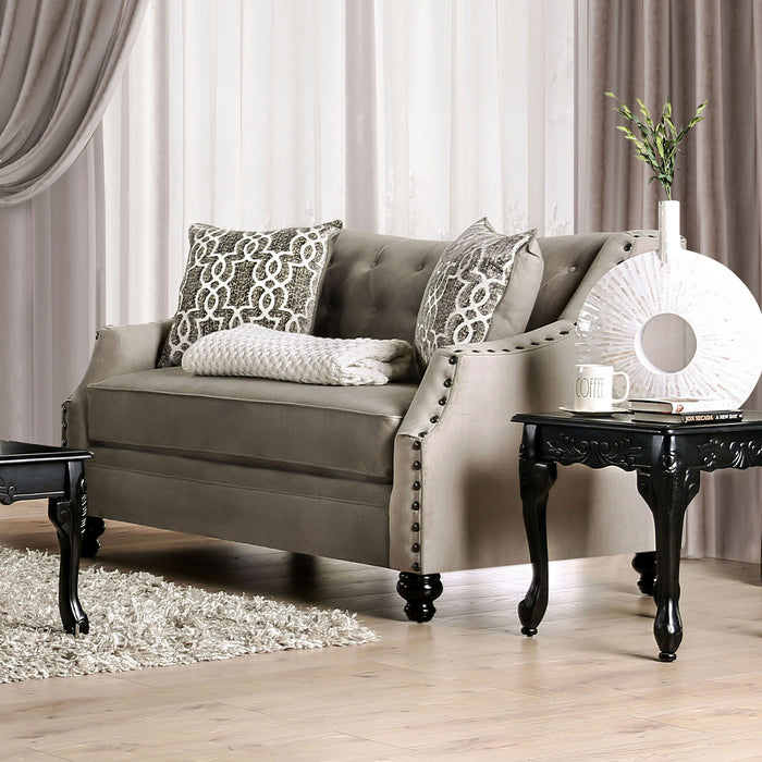 Ezrin Light Brown Love Seat - Canales Furniture