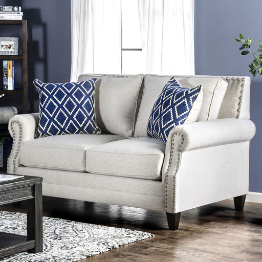 Giovanni Beige/Blue Love Seat - Canales Furniture