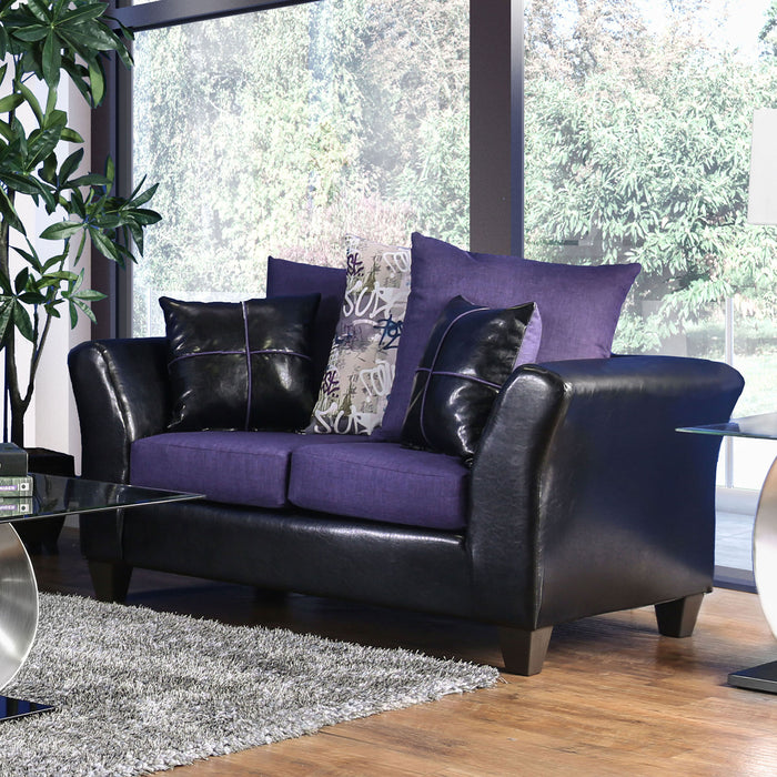 Kaelyn Black/Purple Love Seat - Canales Furniture