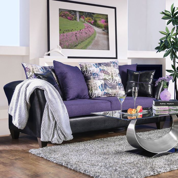 Kaelyn Black/Purple Sofa - Canales Furniture