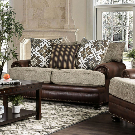Reyna Warm Gray/Brown Love Seat - Canales Furniture