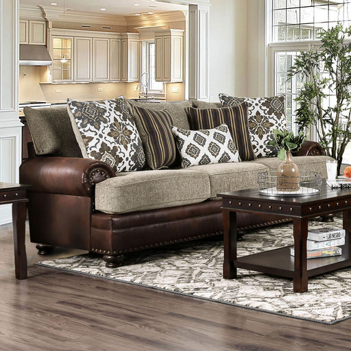 Reyna Warm Gray/Brown Sofa - Canales Furniture