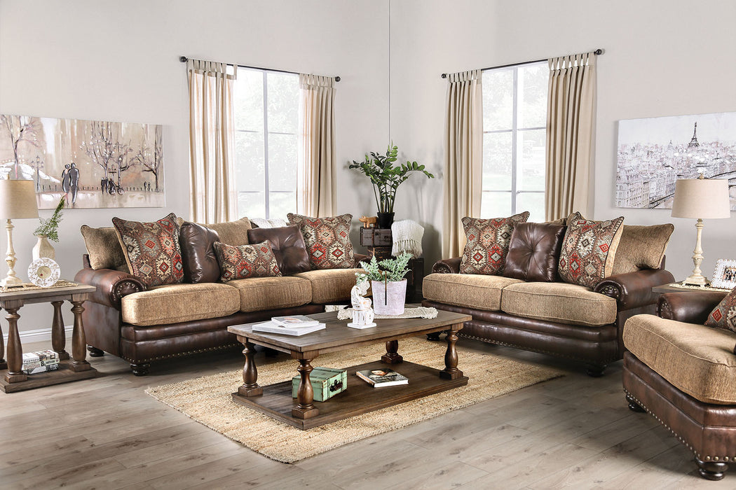 Fletcher Brown/Tan Sofa + Love Seat - Canales Furniture