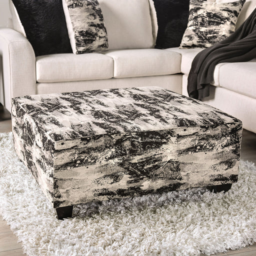 Barnett Ivory/Gray Ottoman - Canales Furniture