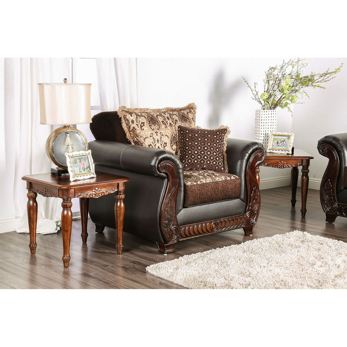 Franklin Dark Brown/Tan Chair With Pu In Brown - Canales Furniture