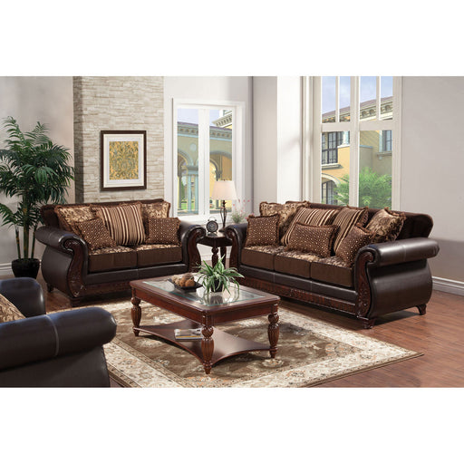 Franklin Dark Brown/Tan Sofa, Dark Brown - Canales Furniture