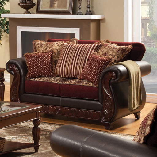 Franklin Burgundy/Espresso Love Seat, Burgundy - Canales Furniture