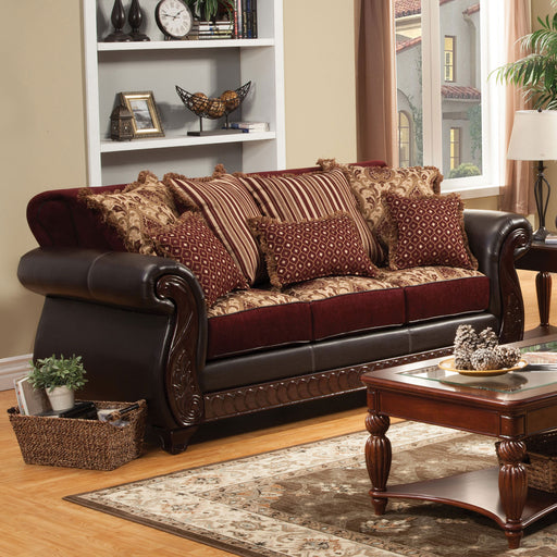 Franklin Burgundy/Espresso Sofa, Burgundy - Canales Furniture