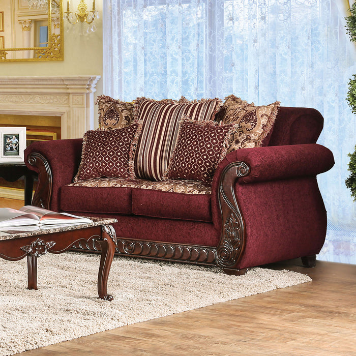 TABITHA Wine Love Seat, Wine - Canales Furniture