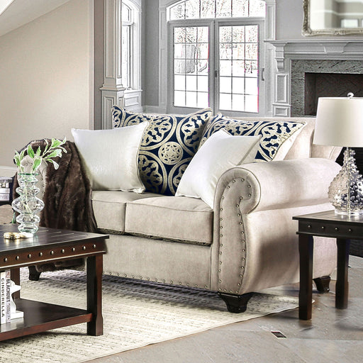 Sinatra Light Mocha/Navy/Champagne Love Seat - Canales Furniture