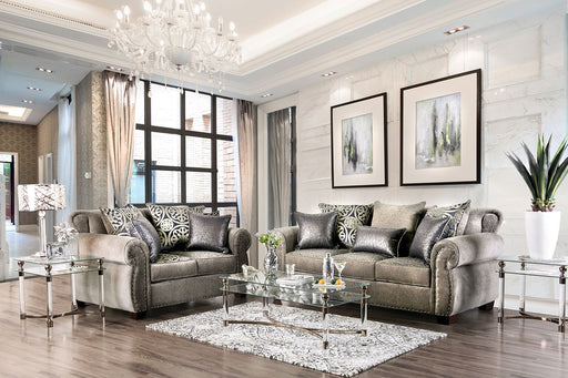 Sinatra Gray/Champagne Sofa + Love Seat - Canales Furniture