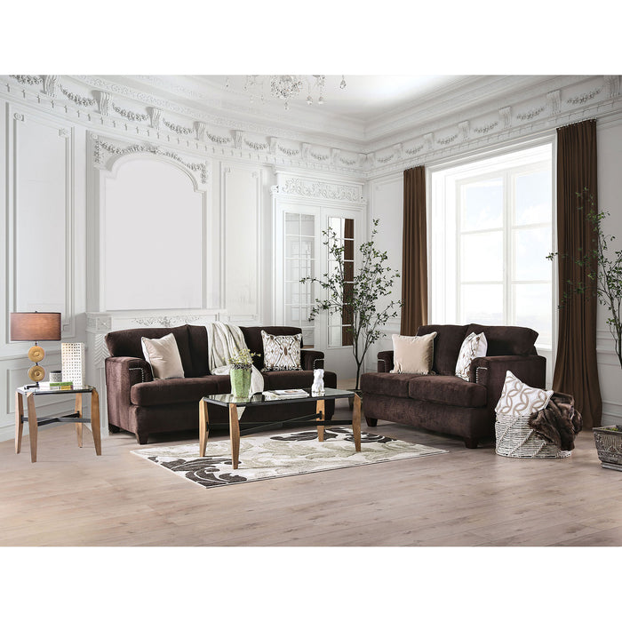 Brynlee Chocolate Sofa + Love Seat + 4 Pillows - Canales Furniture