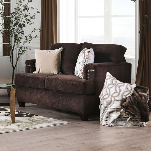 Brynlee Chocolate Love Seat + 4 Pillows - Canales Furniture