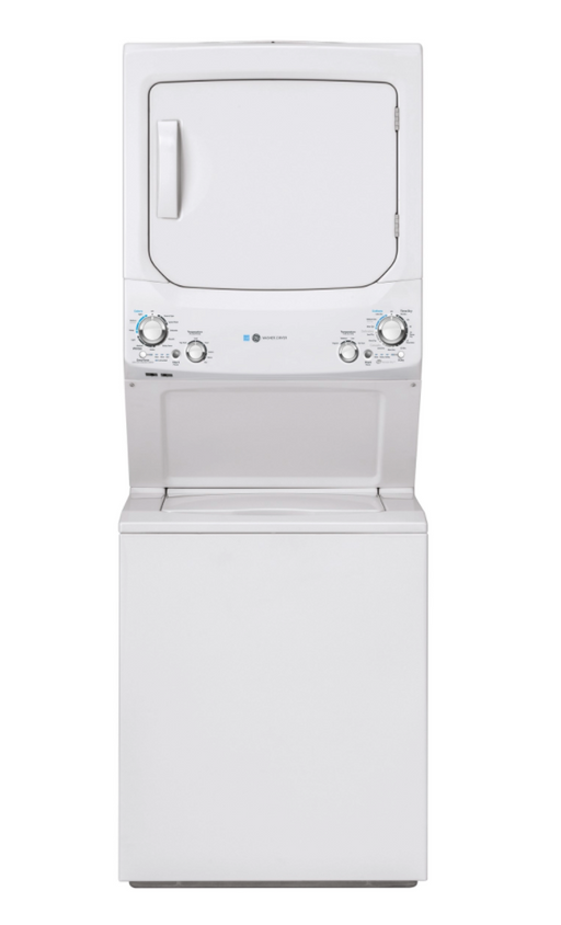 GE Unitized Spacemaker® ENERGY STAR® 3.9 cu. ft. Capacity Washer with Stainless Steel Basket and 5.9 cu. ft. Capacity Electric Dryer - Canales Furniture
