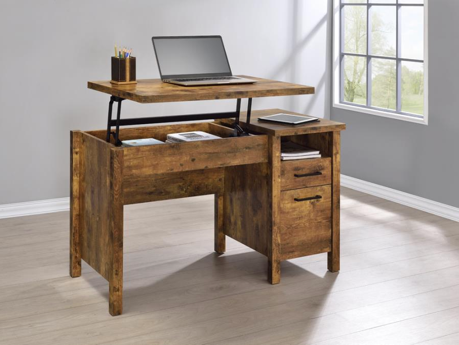 Lift Top Brown Office Desk - Canales Furniture