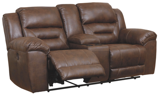 Stoneland Chocolate Loveseat w/Console - Canales Furniture