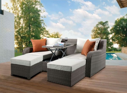 Salena Beige & Gray Patio Sectional & 2 Ottomans - Canales Furniture