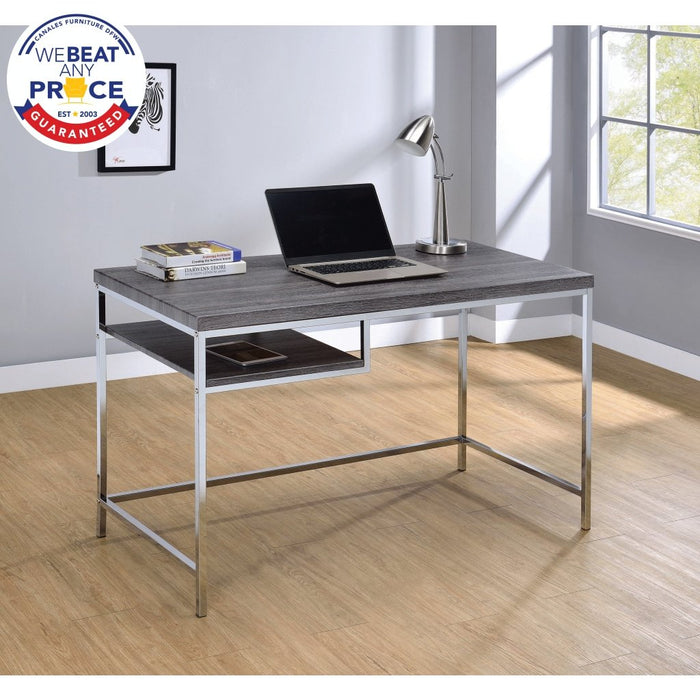 Kravitz Rectangular Writing Desk Weathered Grey And Chrome - Canales Furniture