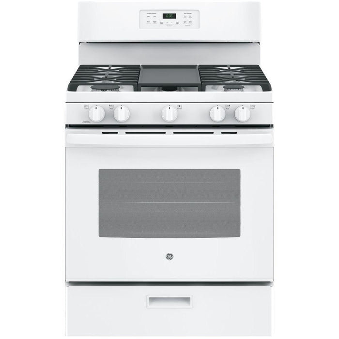 "GE® 30"" 5.0 Cu. Ft Free-Standing Gas Range - Canales Furniture"