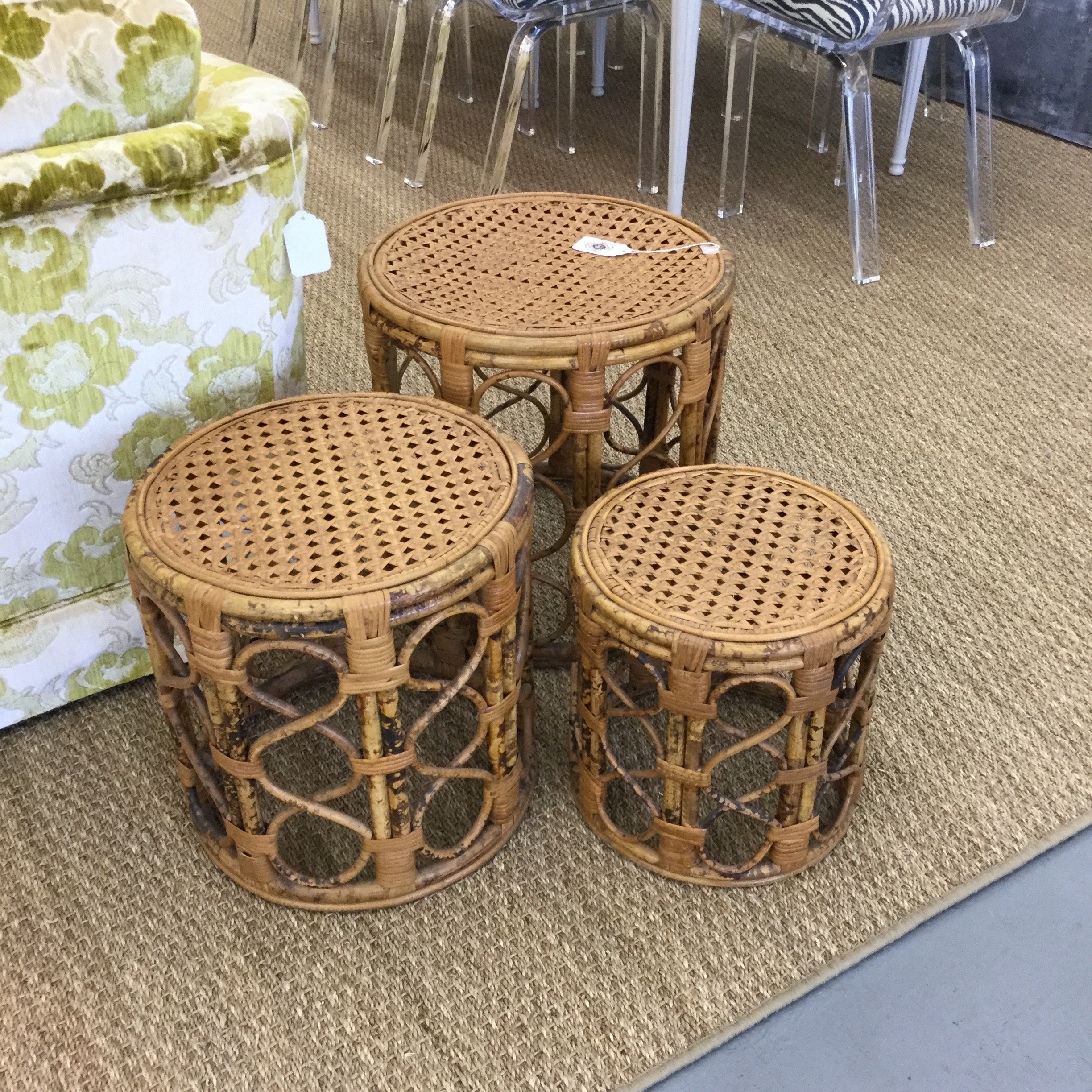 Fine Vintage Bamboo Caned Nesting Tables Interior Design Ideas Apansoteloinfo