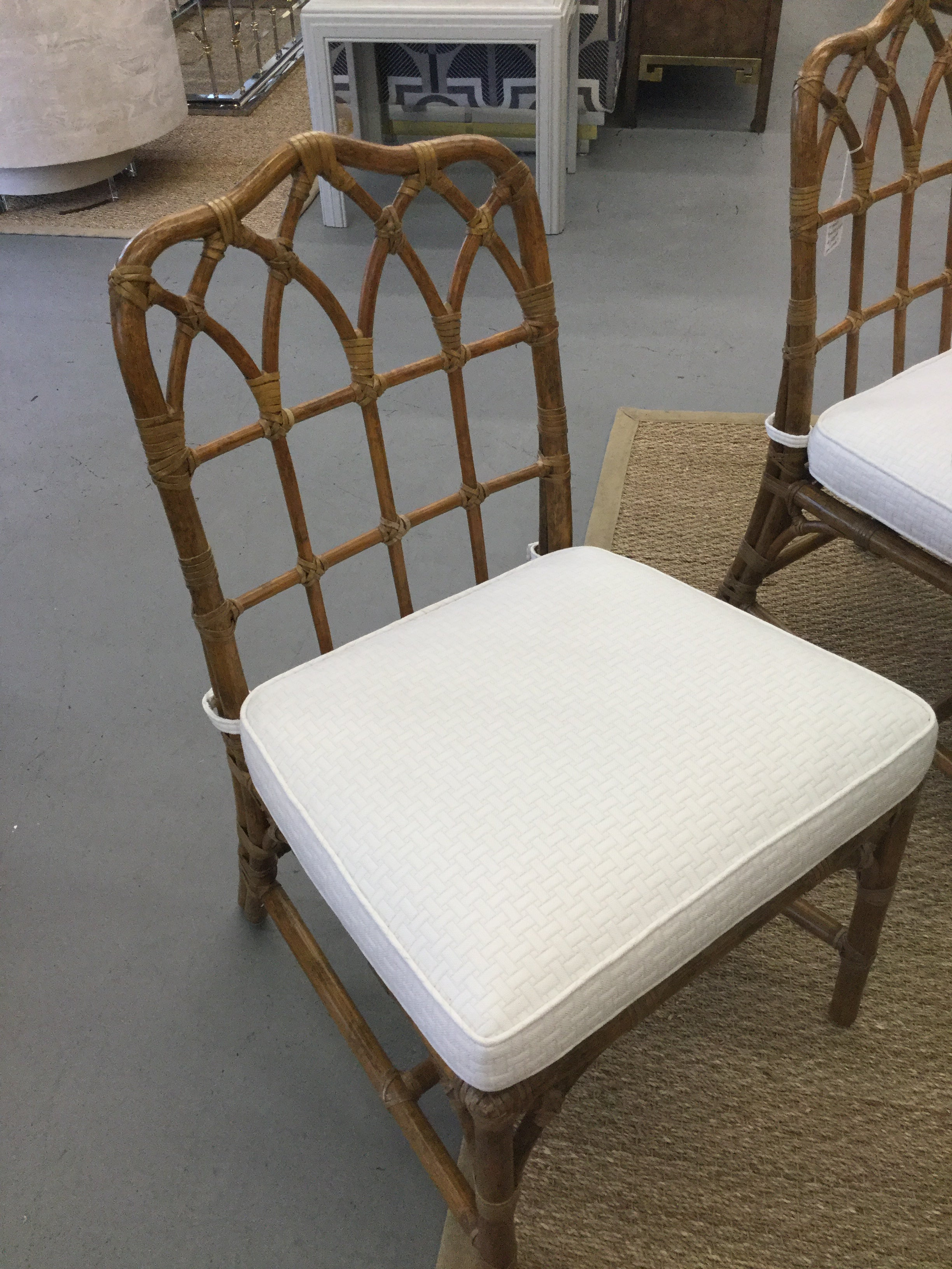 Wonderful Set Of (8) Vintage McGuire Bamboo Chairs
