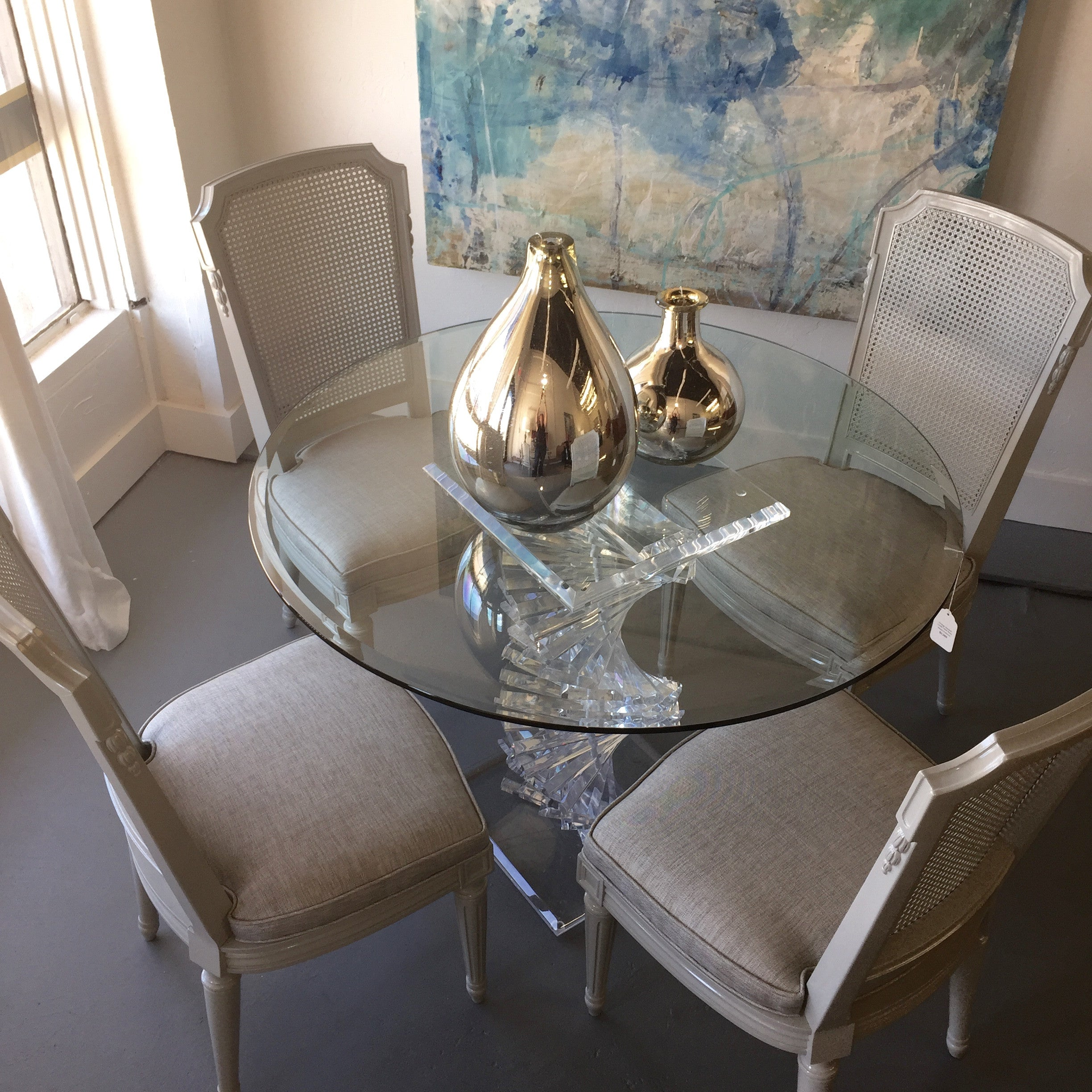 Set of 8 vintage cane back dining chairs