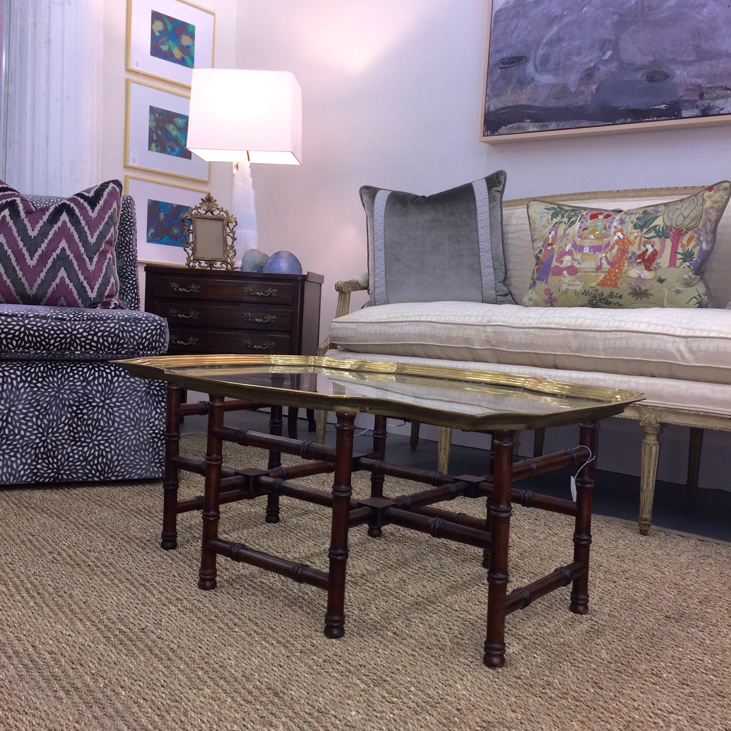 Exceptional Vintage Brass + Faux Bamboo Coffee Table