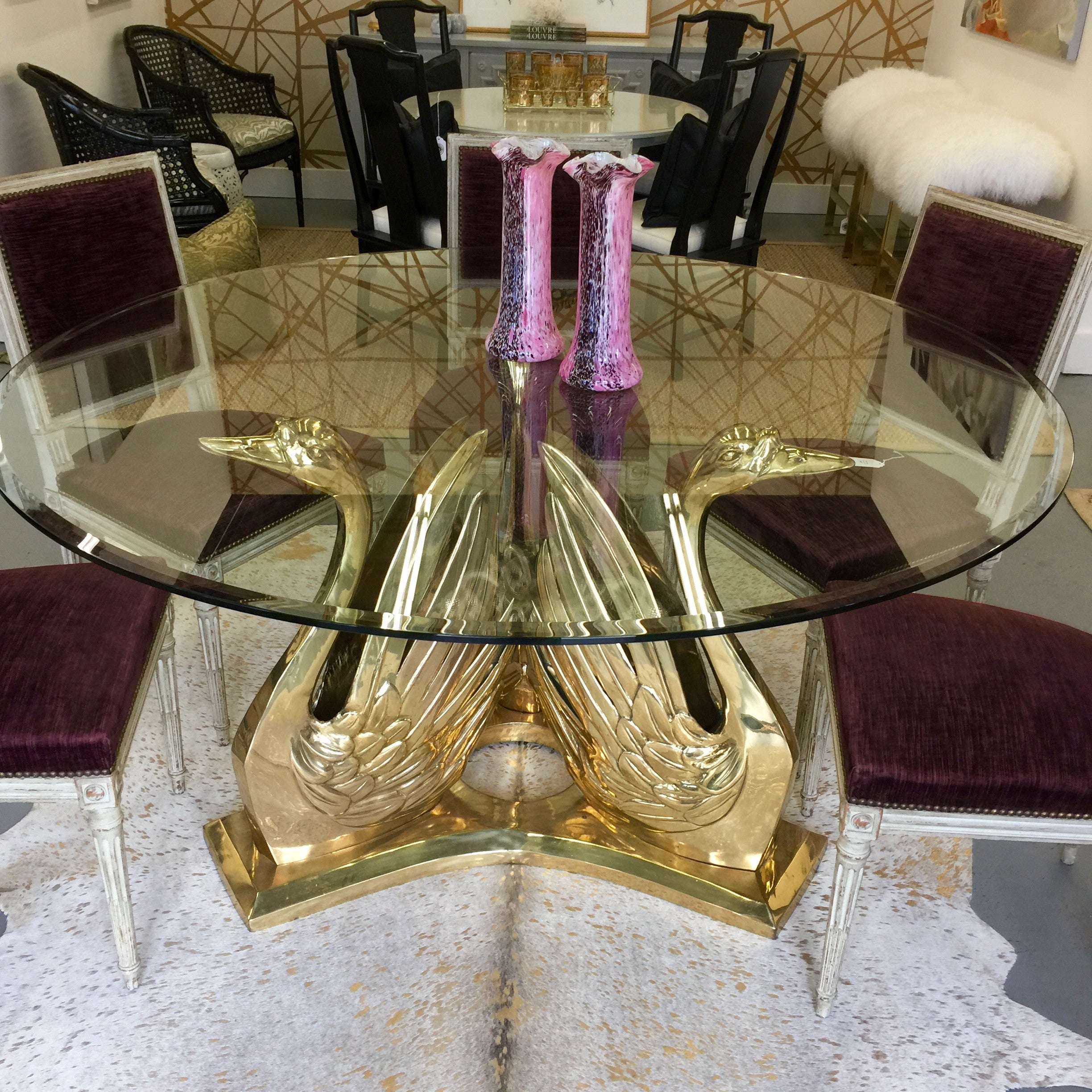 vintage brass swan table park eighth rh parkandeighth com crystal swan dining table ercol swan dining table and chairs