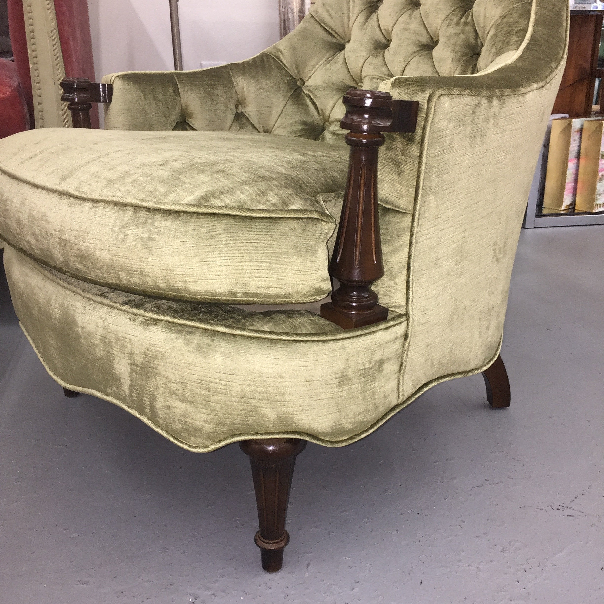 Pair Of Hollywood Regency Style Tufted Velvet Chairs