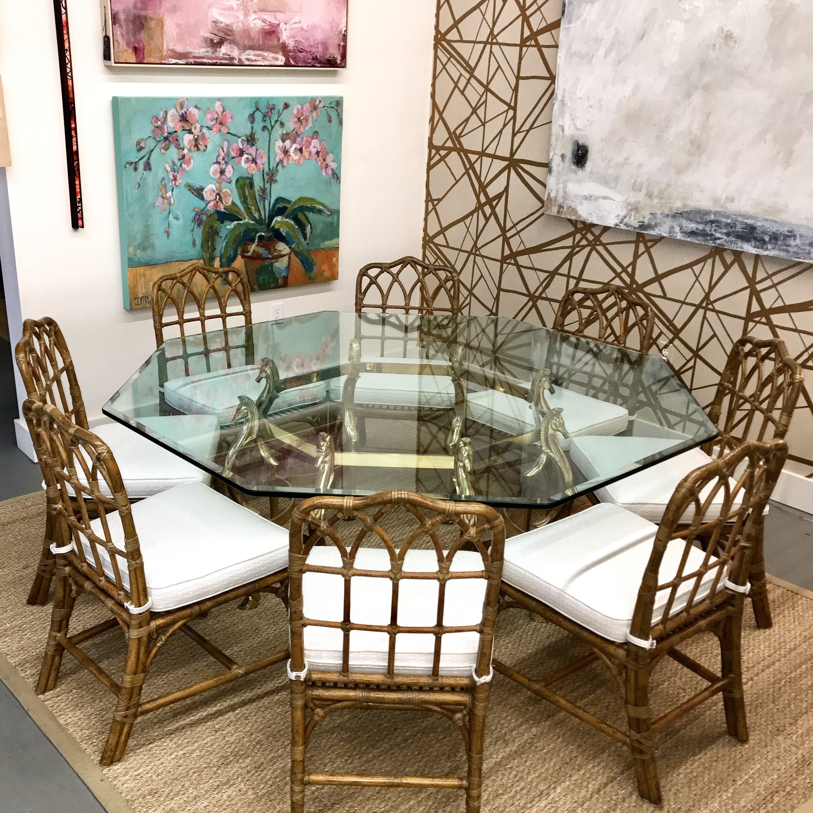 Set Of (8) Vintage McGuire Bamboo Chairs