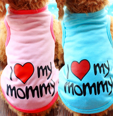 I Love Mommy Dog Shirt Summer Tee Shirt Dog Clothes