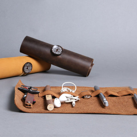 Minimal Rustic Antique Leather Roll Up Organizer