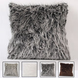 Nordic Viking Style Faux Wolf Fur Pillow Cover