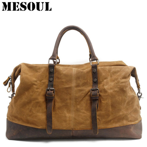 Heavy Duty Canvas Leather Waterproof  Duffel Bag