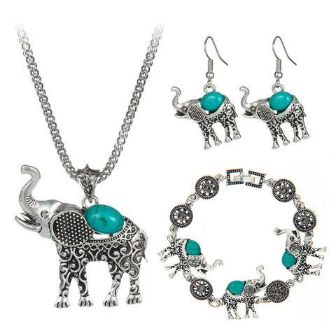 Bohemian  Stone Jewelry Set  Cute Vintage Elephant Ear Rings, Necklace, Bracelet