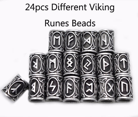 24pcs Top Silver Norse Viking Runes Charms Beads For DIY Bracelets, Pendants, Necklaces, Your Viking Beard Hair.