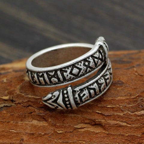 Dragon Rune Stone Viking Ring, Adjustable Size