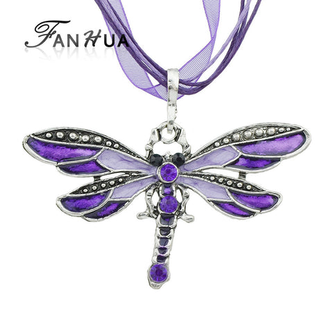 6 colors Bohemian Fashion Dragonfly Necklace Jewelry