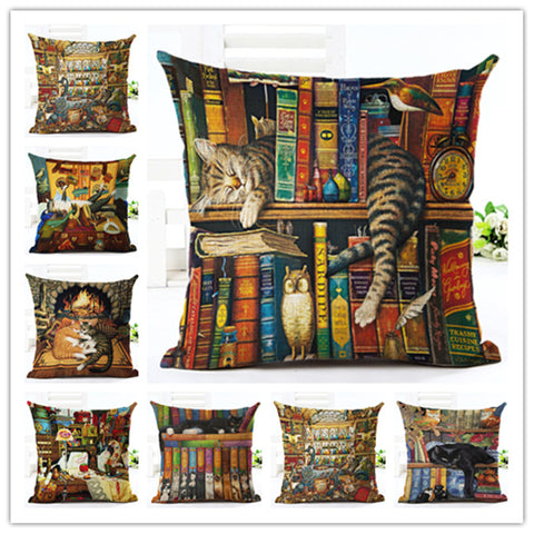 Cute Book Cat Party Pillow Covers Set