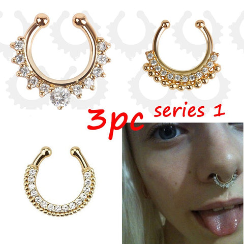 3PC Crystal Fashion Faux Septum Piercing Jewelry
