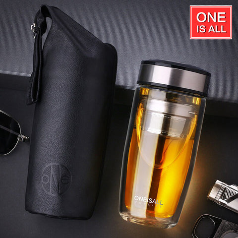 Double Walled Glass Mug Tumbler with Tea Infuser