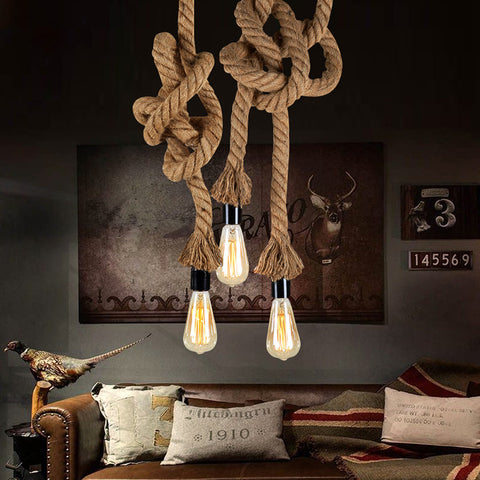 Vintage Industrial  Hemp Rope Pendant Light Lamp