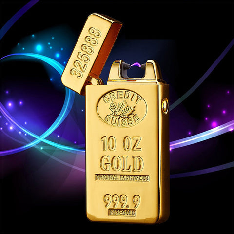 Gold Bar Electric Pulse Double Arc USB Lighter