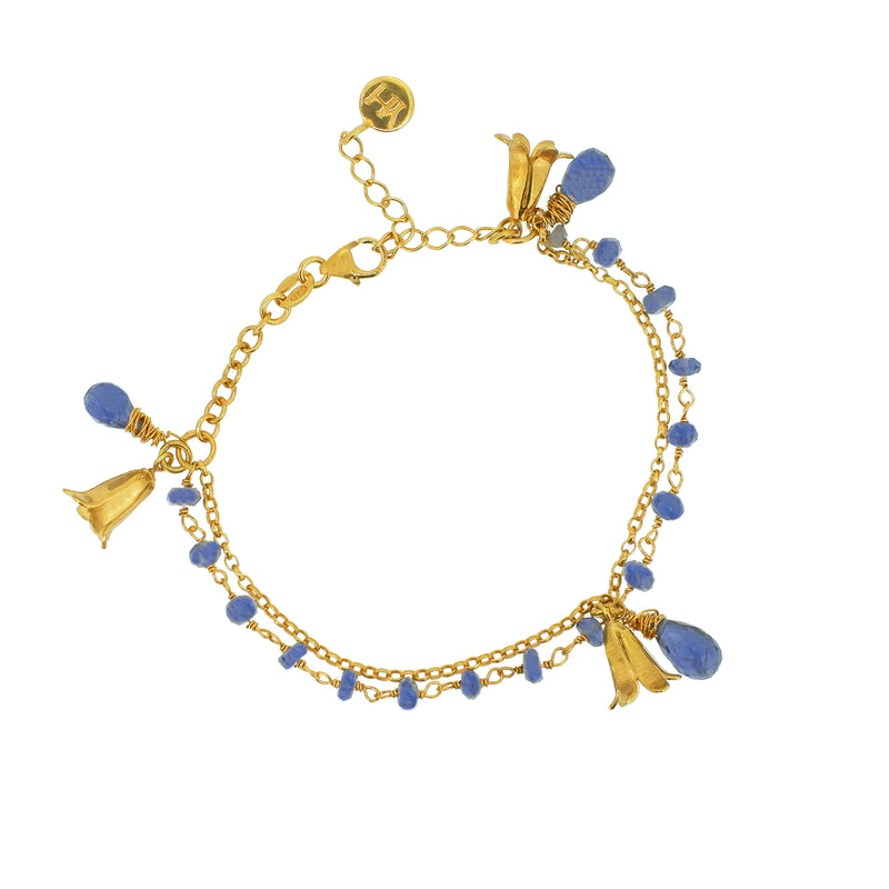 Bluebell and Iolite Charm Bracelet - Gold